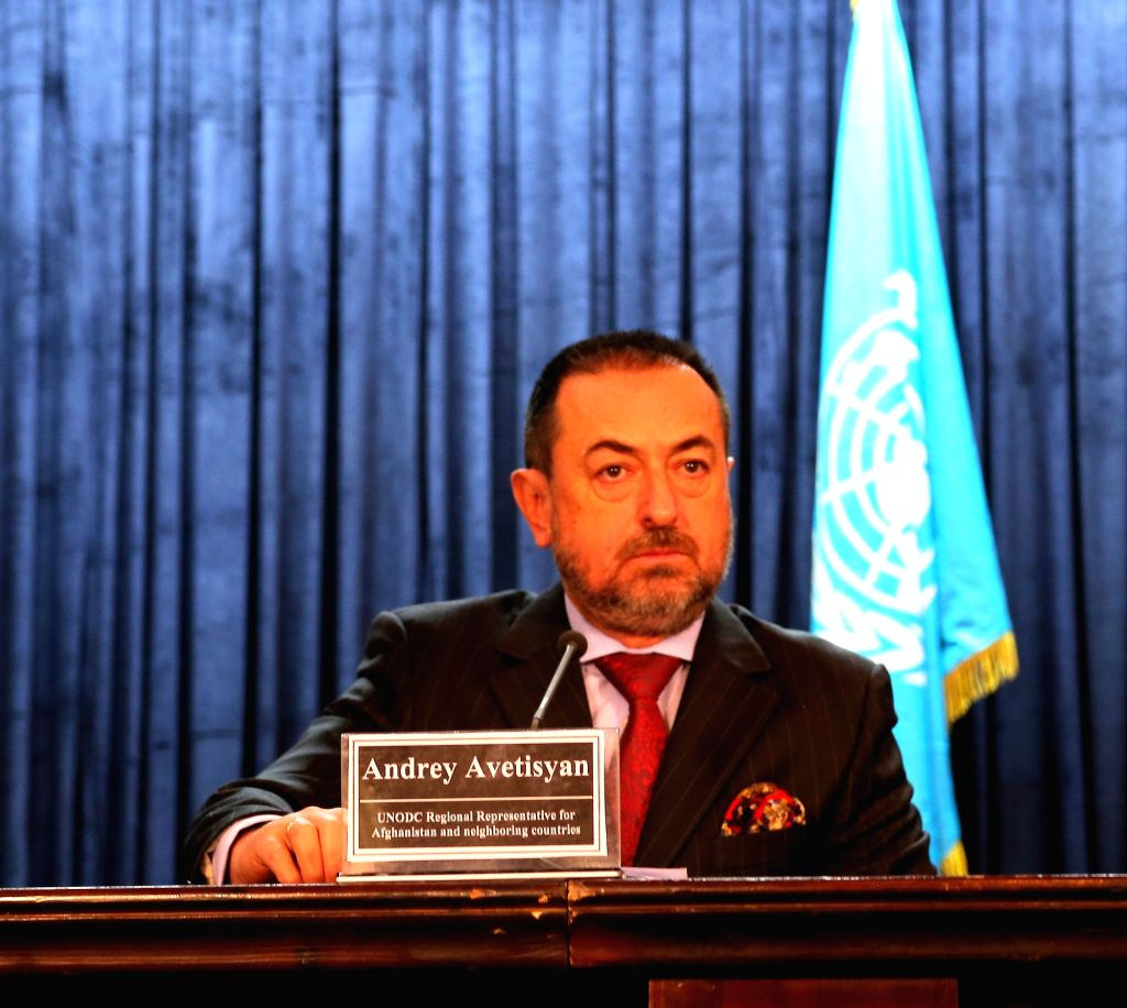 Andrey Avetisyan, UNODC regional representative for Afghanistan and neighboring countries, attends a press conference in Kabul, capital of Afghanistan, Dec. 9, 2015. ...