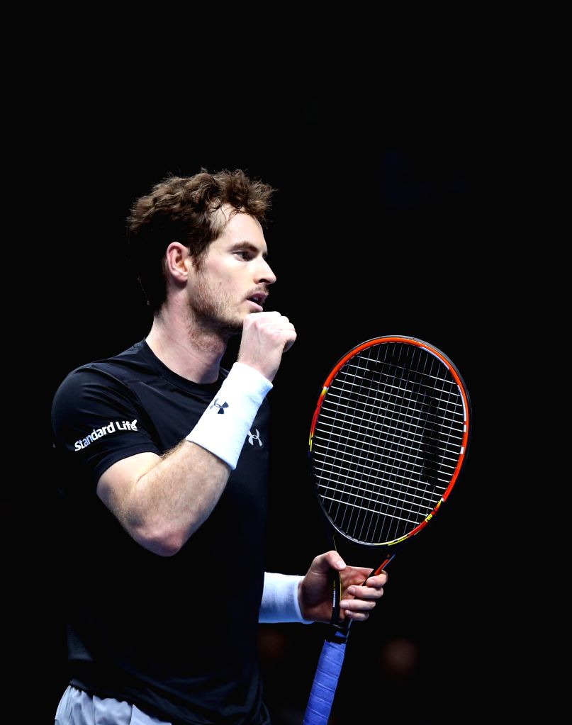 Andy Murray of Britain reacts after the match with David Ferrer of Spain at the ATP World Tour Finals at the O2 Arena in London, Britain, on Nov. 16, 2015. Murray ...