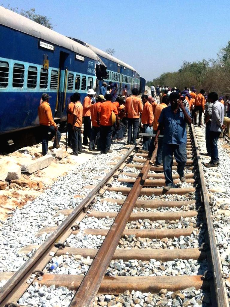 The restoration work in progress on the rail track between Anekal and Hosur stations on the Karnataka-Tamil Nadu border which was blocked after an inter-city express train derailed, leaving ..