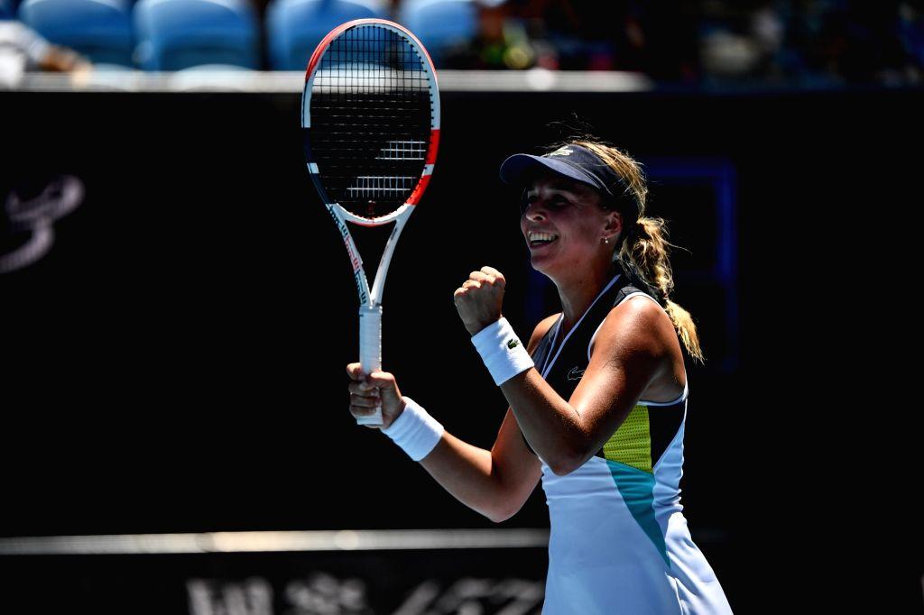 Anett Kontaveit of Estonia celebrates after the women's singles third round match against Belinda Bencic of Switzerland at the 2020 Australian Open tennis ...