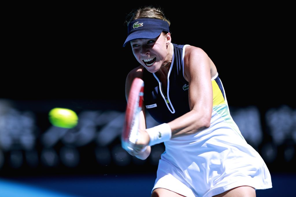 Anett Kontaveit of Estonia competes during the women's singles match between Simona Halep of Romania and Anett Kontaveit of Estonia at the Australian Open tennis ...