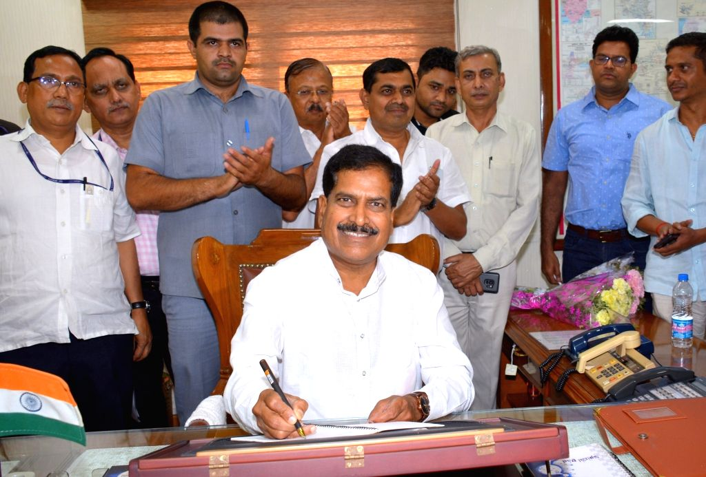 Angadi Suresh Channabasappa takes charge as the Minister of State for Railways, in New Delhi on May 31, 2019.