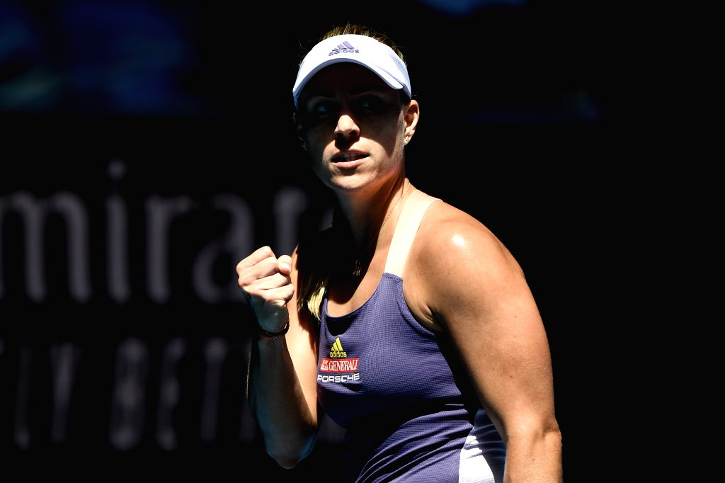 Angelique Kerber of Germany celebrates during the women's singles third round match against Camila Giorgi of Italy at the 2020 Australian Open tennis tournament ...