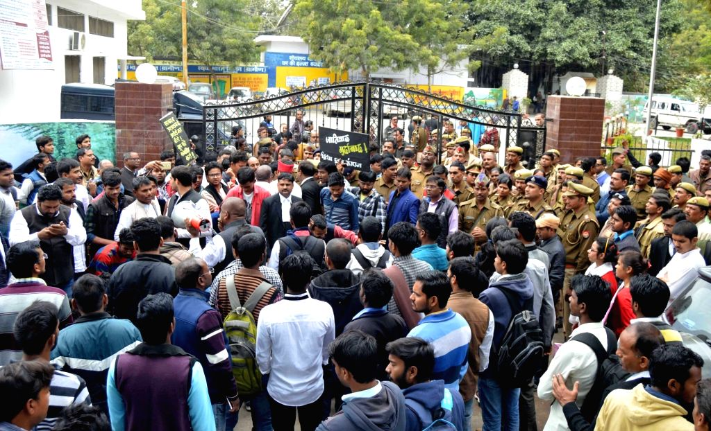 Angered over the killing of a Dalit student of Allahabad University, students laid siege to the house of District Magistrate Suhas LY, in Allahabad on Feb 12, 2018.