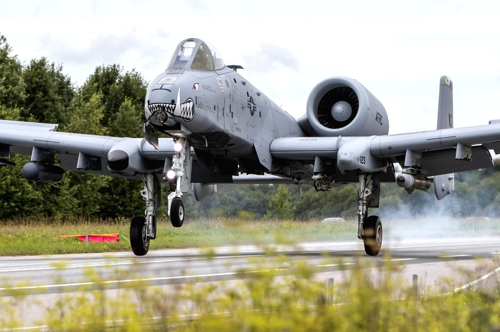 ANIJE(ESTONIA), Aug. 1, 2016 An U.S. Air Force A-10 Thunderbolt takes part in a joint training on a highway near Anije, Western Estonia on Aug. 1, 2016.