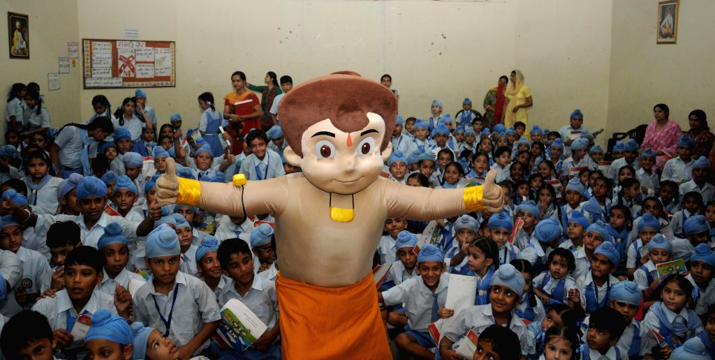 Animated character Chhota Bheem during a programme organised to raise health awareness among children in Amritsar, on Aug 18, 2015.