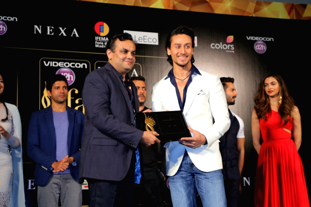 Aniruddh Dhoot with Tiger Shroff during the IIFA 2016 opening press conference in Madrid on June 23, 2016.