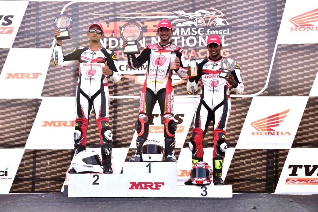 Anish Shetty(1st), Abhishek V(2nd) and B.Aravind (3rd) Round-up the podium for team IDEMITSU Honda Ten10 Racing in PS201-300cc category - Anish Shetty