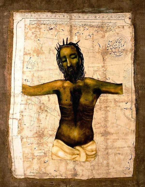 Anjolie , Ascension, oil on canvas mounted on antique parchment map, 3.5 feet x 5 feet, 1999. (Source: Triveni Kala Sangam)
