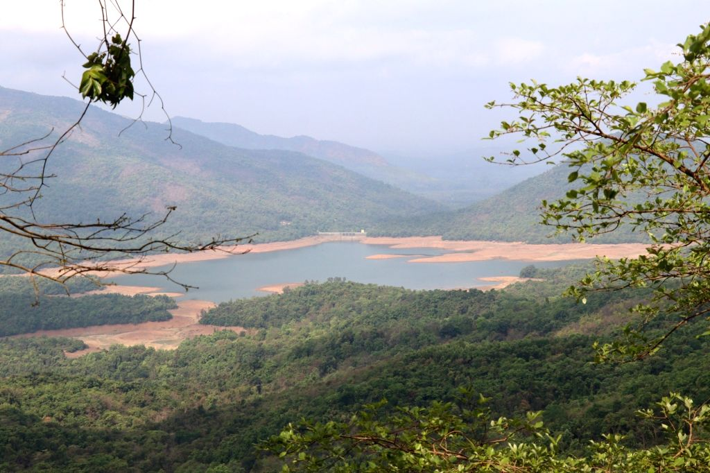 Anjunem Keri Dam is witnessing a reduction in the water levels due to rise in temperatures, in Goa's Sanquelim on May 13, 2019.