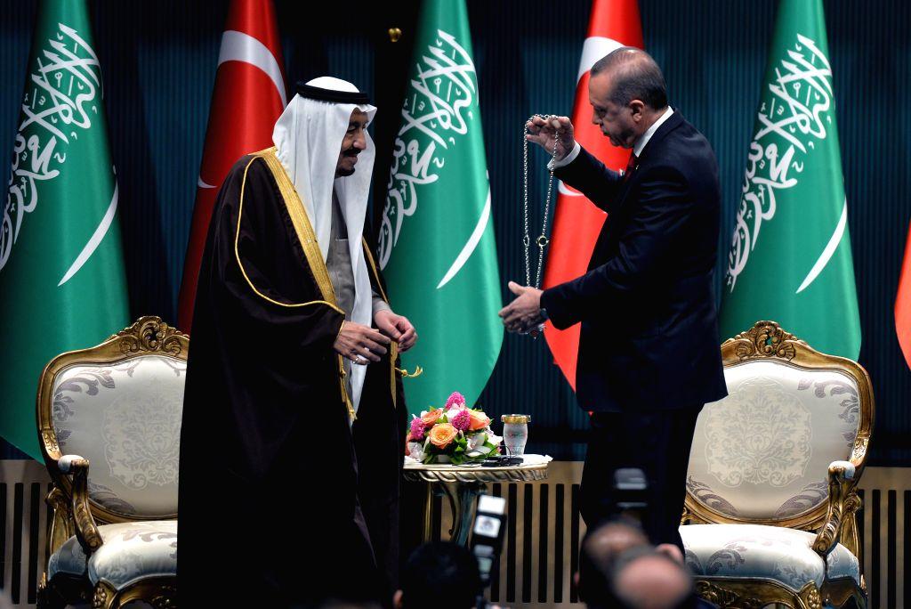 ANKARA, April 12, 2016 - Turkish President Recep Tayyip Erdogan (R) welcomes visiting King of Saudi Arabia Salman bin Abdulaziz al Saud in the presidential palace in Ankara, Turkey, April 12, 2016. ...