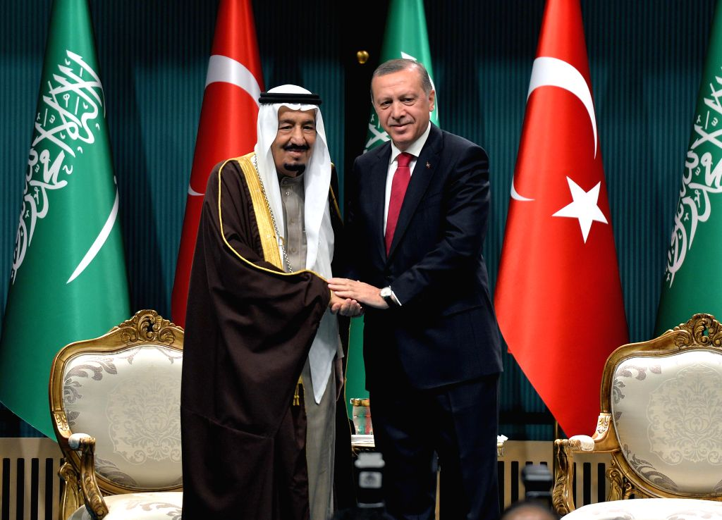 ANKARA, April 12, 2016 - Turkish President Recep Tayyip Erdogan (R) shakes hands with visiting King of Saudi Arabia Salman bin Abdulaziz al Saud in the presidential palace in Ankara, Turkey, April ...