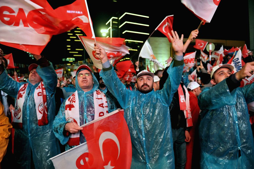 """ANKARA, April 16, 2017 - Turkish citizens celebrate the victory of referendum in Ankara, capital of Turkey, on April 16, 2017. Turkey voted to support constitutional change with """"Yes"""" votes ..."""