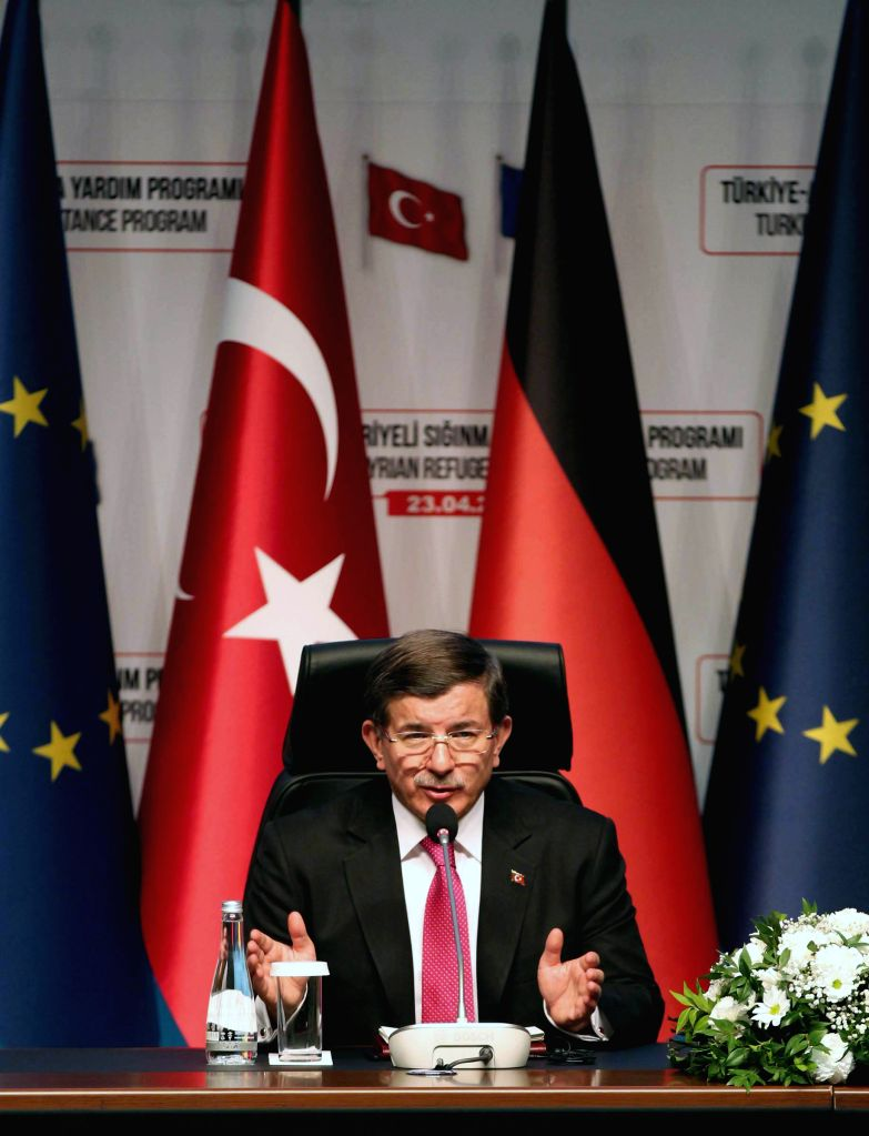 ANKARA, April 23, 2016 - Turkish Prime Minister Ahmet Davutoglu holds a joint press conference in southeastern Turkish province of Gaziantep on April 23, 2016. The European Union (EU) would spend one ... - Ahmet Davutoglu