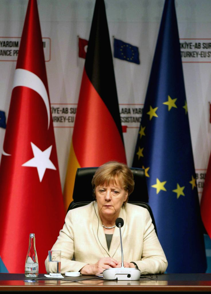 ANKARA, April 23, 2016 - Visiting German Chancellor Angela Merkel attends a joint press conference in southeastern Turkish province of Gaziantep on April 23, 2016. The European Union (EU) would spend ...