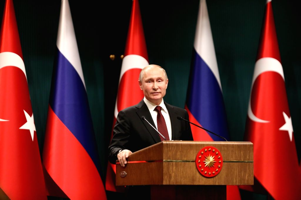 ANKARA, April 3, 2018 - Russian President Vladimir Putin attends a joint press conference with Turkish President Recep Tayyip Erdogan (not in the picture) following their meeting in Ankara, Turkey, ...