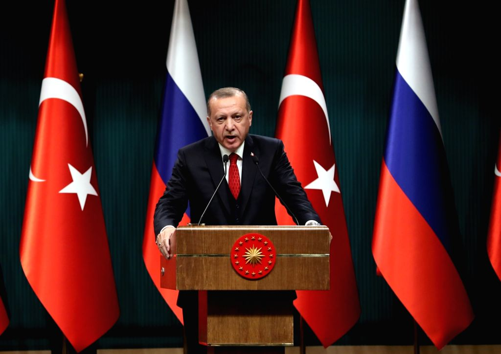 ANKARA, April 3, 2018 - Turkish President Recep Tayyip Erdogan attends a joint press conference with Russian President Vladimir Putin (not in the picture) following their meeting in Ankara, Turkey, ...