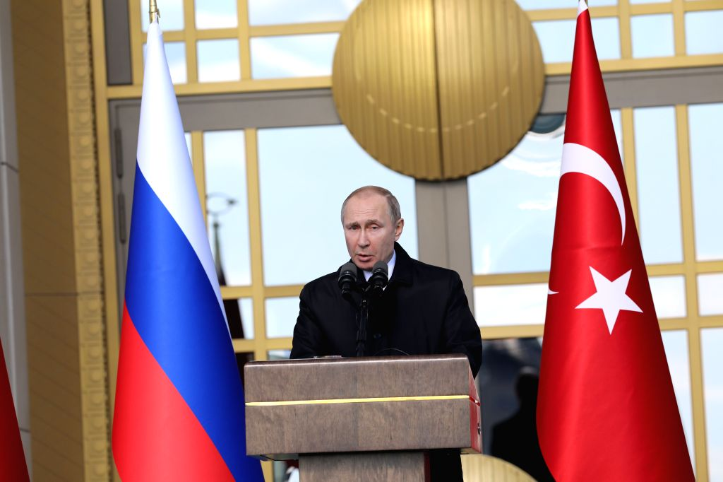 ANKARA, April 4, 2018 - Russian President Vladimir Putin delivers a speech during the groundbreaking ceremony of Akkuyu Nuclear Power Plant via a video teleconference in Ankara, Turkey, on April 3, ...