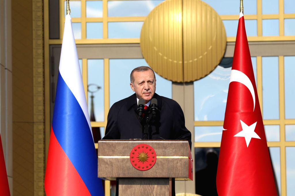 ANKARA, April 4, 2018 - Turkish President Recep Tayyip Erdogan delivers a speech during the groundbreaking ceremony of Akkuyu Nuclear Power Plant via a video teleconference in Ankara, Turkey, on ...
