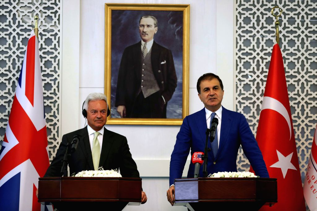 ANKARA, Aug. 18, 2017 - Turkish Minister for European Union Affairs Omer Celik (R) and Britain's Minister for Europe Alan Duncan hold a joint press conference in Ankara, Turkey, Aug. 17, 2017.