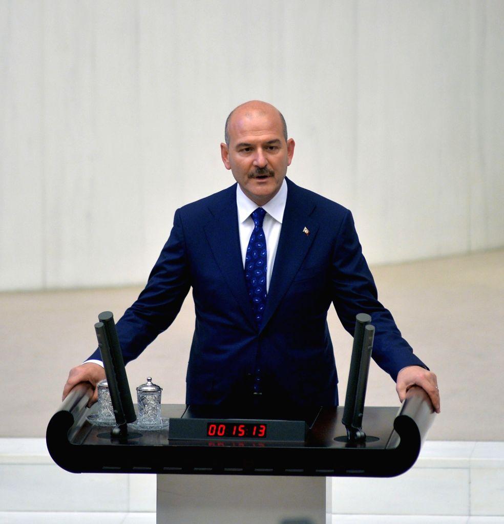 ANKARA, Aug. 2, 2018 - File photo taken on July 10, 2018 shows Turkish Minister of Interior Suleyman Soylu attending a meeting in Ankara, Turkey. Turkish Minister of Justice Abdulhamit Gul and ...
