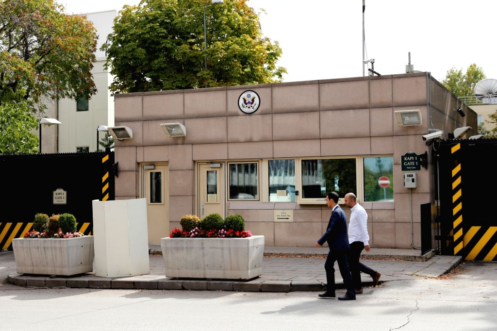 ANKARA, Aug. 20, 2018 (Xinhua) -- File photo taken on Oct. 9, 2017 shows the gate of the U.S. embassy in Ankara, Turkey. Unidentified assailants fired gun shots at the U.S. embassy in Ankara early Monday, hitting a window of a security cabin but caus