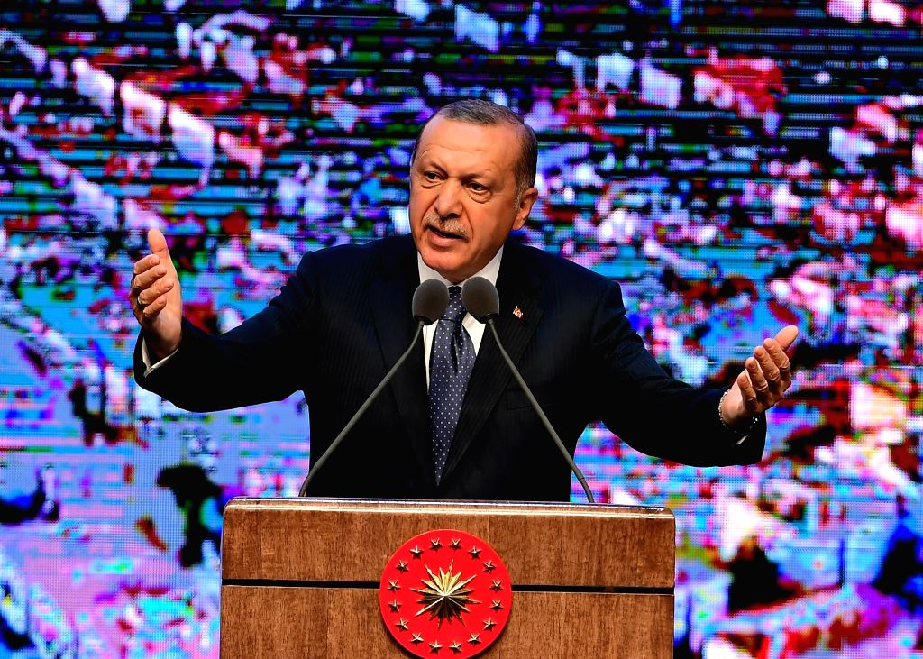 ANKARA, Aug. 4, 2018 - Turkish President Recep Tayyip Erdogan delivers a speech at the presidential palace in Ankara, Turkey, Aug. 3, 2018. Turkish President Recep Tayyip Erdogan on Friday announced ...