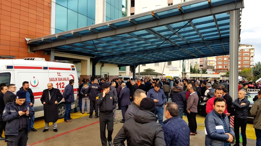 ANKARA, Dec. 11, 2018 - Photo taken on Dec. 11, 2018 shows the hospital where injured policemen are treated in Rize, northeastern Turkey. A provincial police chief was shot dead and three policemen ...