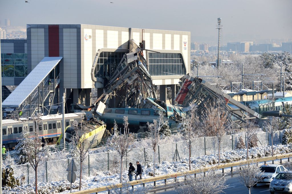 ANKARA, Dec. 13, 2018 - Photo taken on Dec. 13, 2018 shows the site of a train accident in Ankara, Turkey. At least seven people were killed and 46 others injured in a high-speed train accident in ...