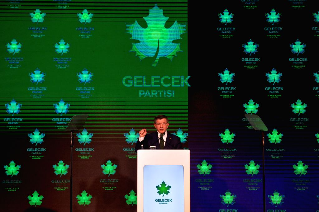 ANKARA, Dec. 13, 2019 - Turkey's former Prime Minister and Chairman of the ruling Justice and Development Party (AKP) Ahmet Davutoglu speaks at the launch ceremony of Future Party in Ankara, Turkey, ...