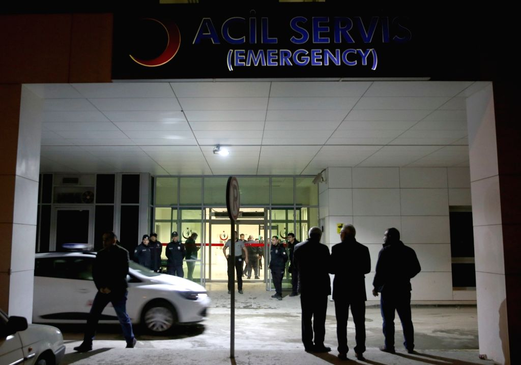 ANKARA, Feb. 20, 2019 - Photo taken on Feb. 20, 2019 shows a hospital where injured soldiers are treated in Ankara, Turkey. At least five soldiers were injured on Wednesday in an ammunition explosion ...