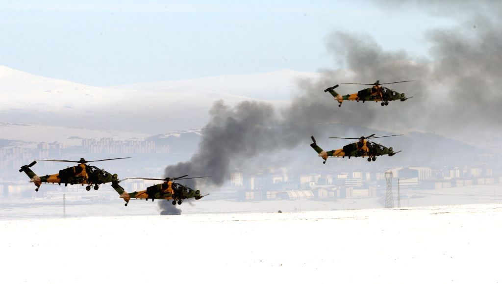 """ANKARA, Feb. 21, 2019 - Helicopters take part in an international military exercise codenamed """"Winter 2019""""  in Kars, Turkey, Feb. 21, 2019. Turkey is holding large-scale international ..."""