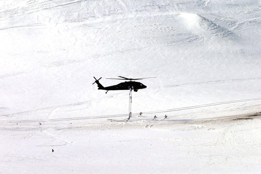 "ANKARA, Feb. 21, 2019 - Photo taken on Feb. 21, 2019 shows a scene in an international military exercise codenamed ""Winter 2019"" in Kars, Turkey. Turkey is holding large-scale international ..."