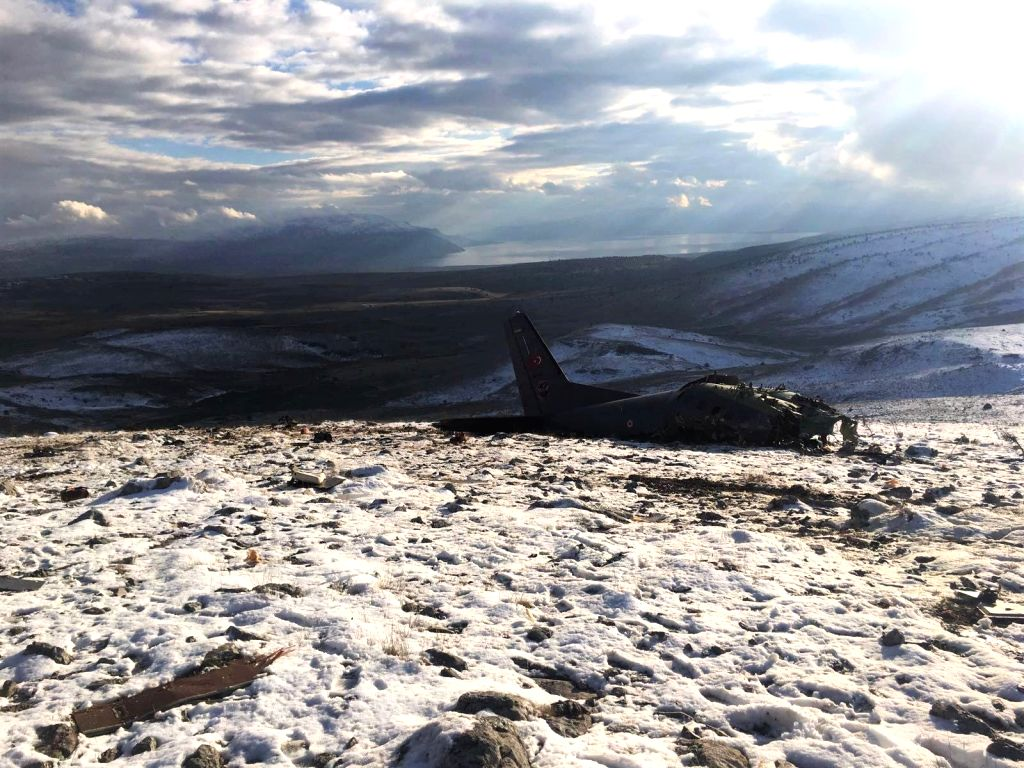 ANKARA, Jan. 17, 2018 - Photo taken on Jan. 17, 2018 shows the crash site of a Turkish military CASA-type cargo plane in the southern Anatolian province of Isparta, Turkey. The Turkish military ...