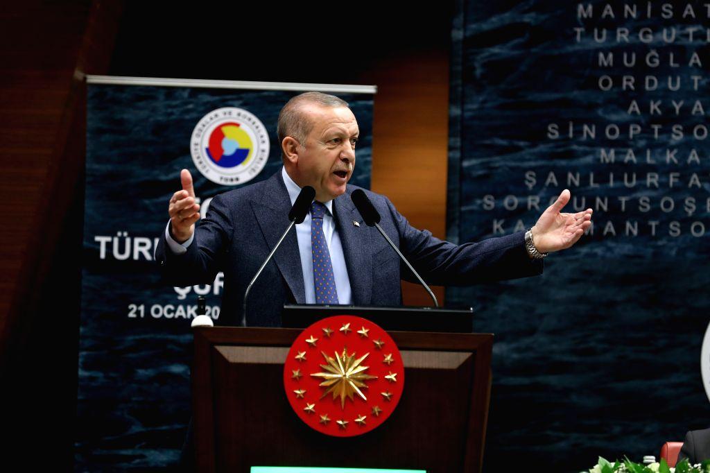 ANKARA, Jan. 21, 2019 - Turkish President Recep Tayyip Erdogan speaks at a meeting of the Union of Chambers and Commodity Exchanges of Turkey (TOBB) in Ankara, Turkey, on Jan. 21, 2019. Turkey will ...
