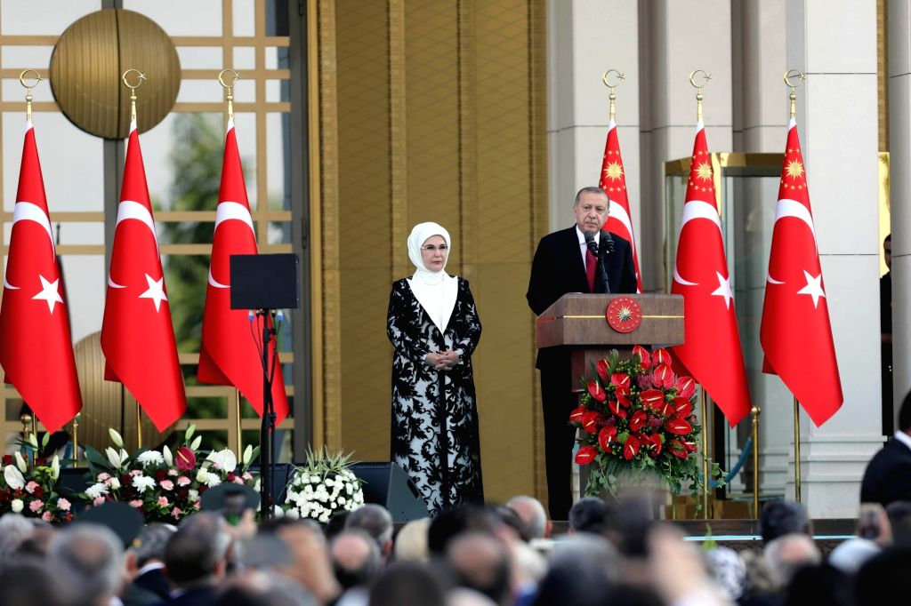 ANKARA, July 10, 2018 - Turkish President Recep Tayyip Erdogan (R) delivers a speech during the inauguration ceremony in Ankara, Turkey, on July 9, 2018. Recep Tayyip Erdogan took the oath of office ...