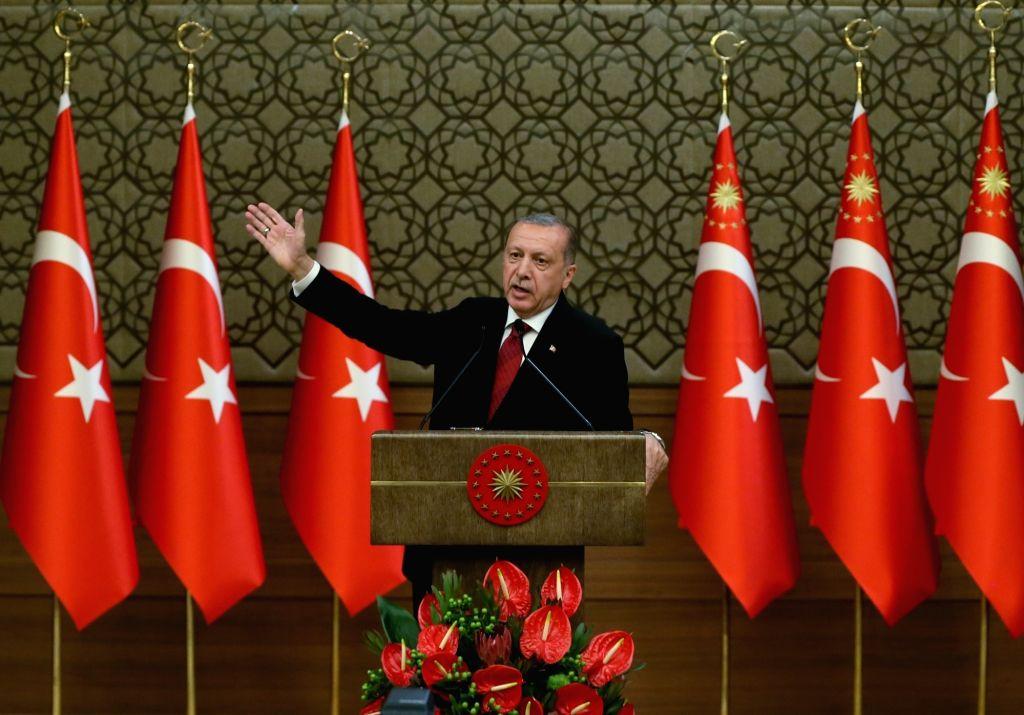 ANKARA, July 10, 2018 - Turkish President Recep Tayyip Erdogan announces the new cabinet members in Ankara, Turkey, on July 9, 2018. Turkish President Recep Tayyip Erdogan announced the new cabinet ...