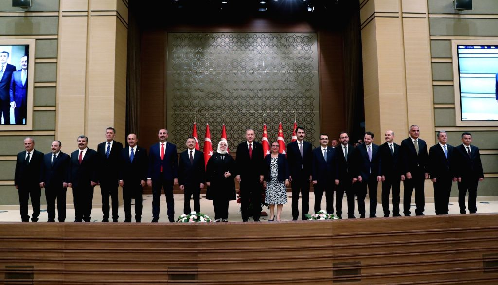 ANKARA, July 10, 2018 - Turkish President Recep Tayyip Erdogan poses for photos with the new cabinet members in Ankara, Turkey, on July 9, 2018. Turkish President Recep Tayyip Erdogan announced the ...