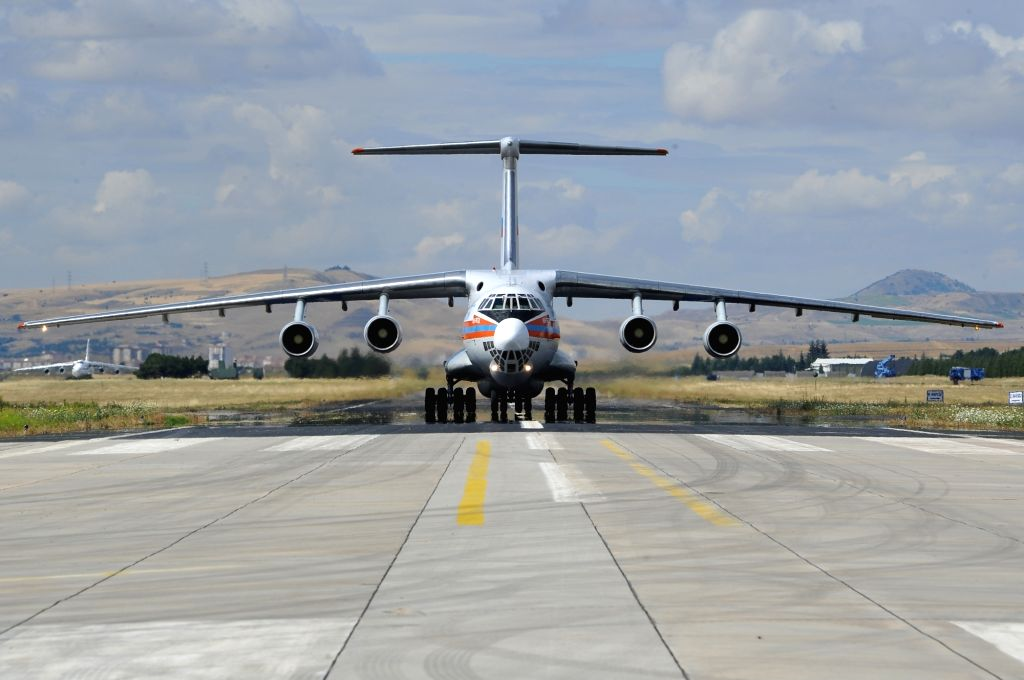 ANKARA, July 12, 2019 (Xinhua) -- A Russian Antonov military cargo plane, carrying parts of the S-400 missile defense system from Russia, lands at the Murted Air Base in Ankara, Turkey, on July 12, 2019. The first batch of Russian S-400 air defense s