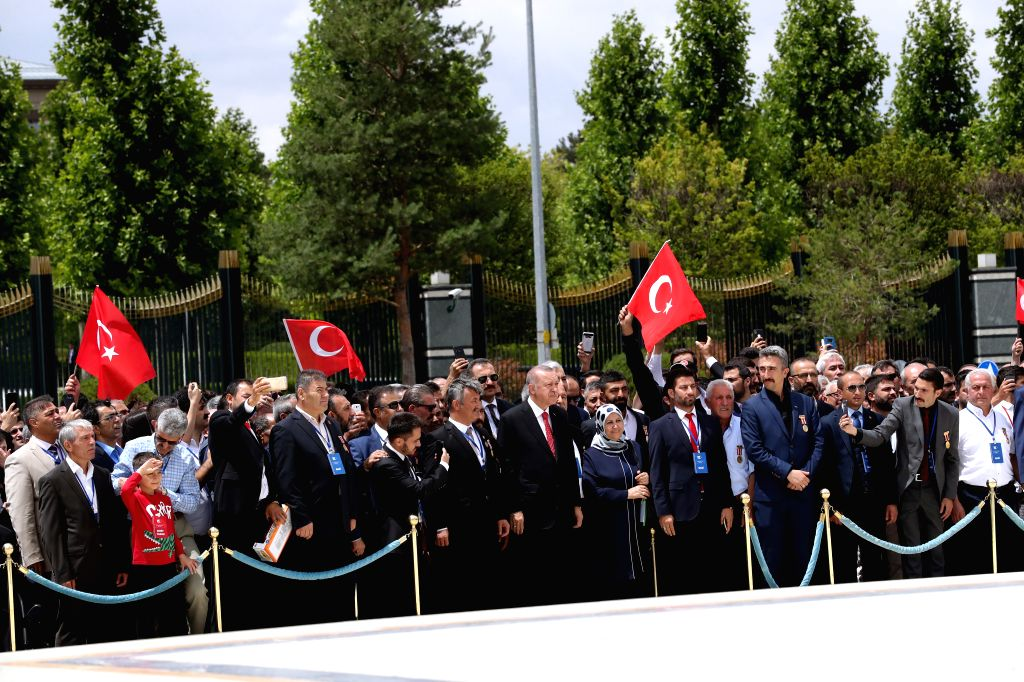 ANKARA, July 15, 2019 - Turkish President Recep Tayyip Erdogan and officials attend a ceremony at the July 15 Martyrs' Monument in Ankara, Turkey, on July 15, 2019. Turkey on Monday held nationwide ...