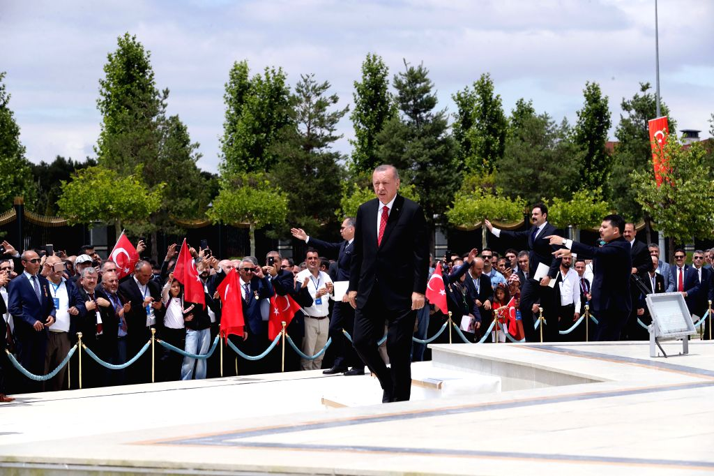 ANKARA, July 15, 2019 - Turkish President Recep Tayyip Erdogan (front) attends a ceremony at the July 15 Martyrs' Monument in Ankara, Turkey, on July 15, 2019. Turkey on Monday held nationwide ...