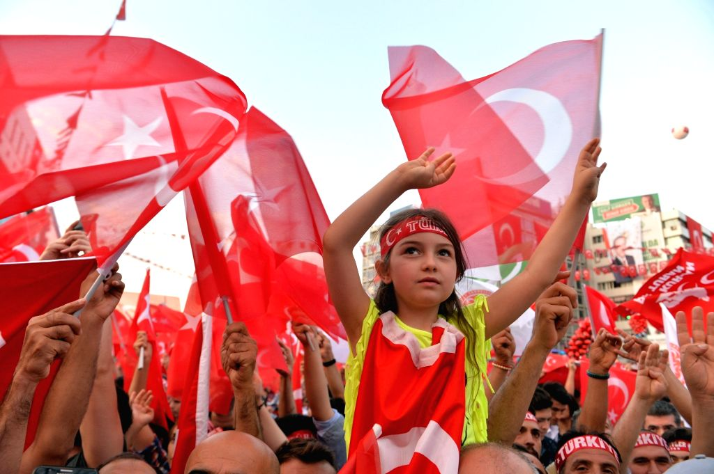 ANKARA, July 16, 2018 - People attend a commemoration event marking the second anniversary of the defeated failed coup in 2016 in Ankara, Turkey, July 15, 2018.