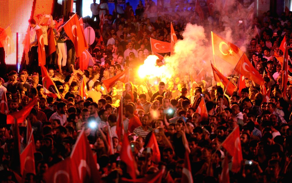 ANKARA, July 17, 2016 - People gather to protest the coup attempt in Ankara, Turkey, July 16, 2016. At least 161 people were killed and 1,440 others wounded in the coup attempt, Turkey's Prime ... - Binali Yildirim