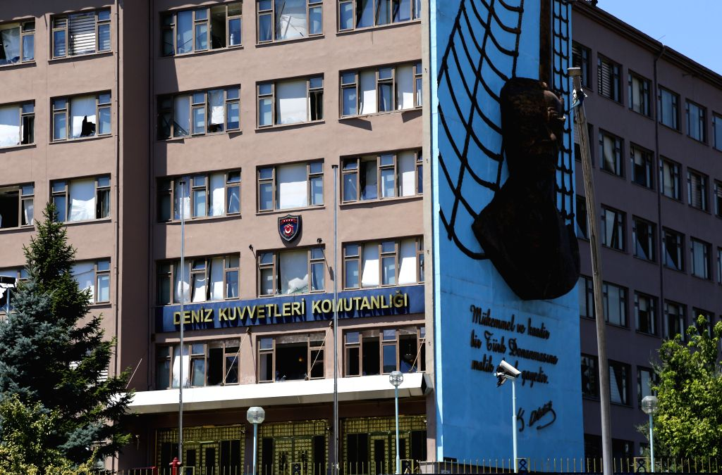 ANKARA, July 17, 2016 - The Turkish navy headquarters is seen damaged in Ankara, Turkey, July 17, 2016. Turkish Prime Minister Binali Yildirim said on Saturday that at least 161 people, including 20 ... - Binali Yildirim