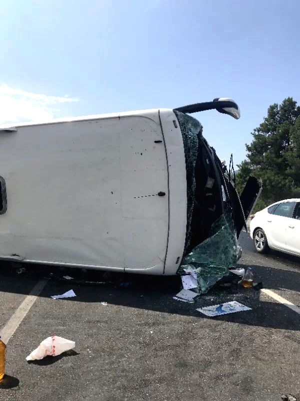 ANKARA, July 29, 2018 - Photo taken on July 29, 2018 shows the site of a bus accident in Antalya Province, Turkey. Two Turkish citizens were killed and 30 other people injured, mostly Chinese, in a ...