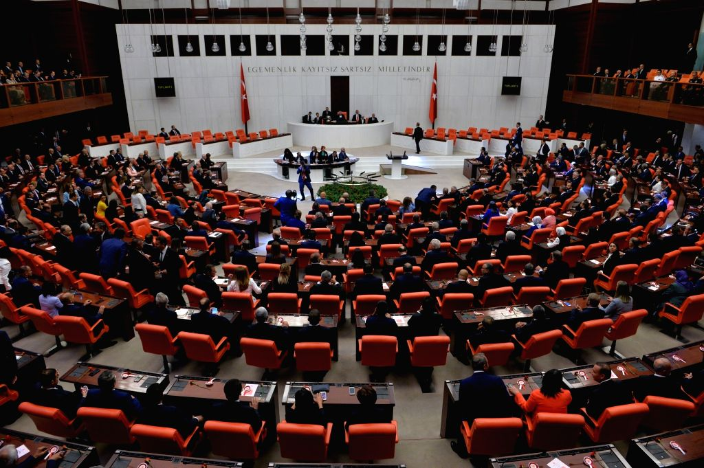 ANKARA, July 7, 2018 - Turkish lawmakers attend an oath-taking ceremony at the Turkish parliament in Ankara, Turkey, on July 7, 2018. Up to 600 Turkish lawmakers on Saturday began taking their oath ...