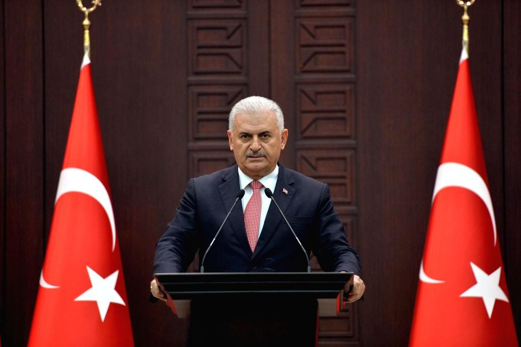 ANKARA, June 27, 2016 - Turkish Prime Minister Binali Yildirim delivers a speech during a press conference after a Turkish-Israeli meeting, in Ankara, Turkey, on June 27, 2016. Turkey and Israel have ... - Binali Yildirim