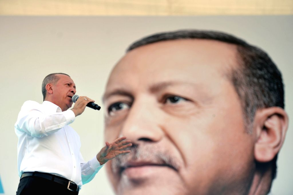 ANKARA, June 9, 2018 - Turkish President Recep Tayyip Erdogan addresses an election rally of the ruling Justice and Development Party (AKP) in Ankara, Turkey, on June 9, 2018.