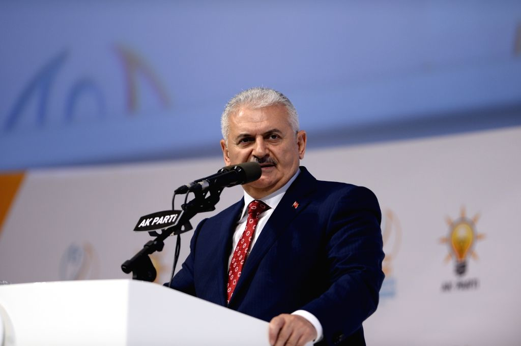 ANKARA, May 22, 2016 - Binali Yildirim addresses his supporters at the congress of Turkish ruling Justice and Development Party in Ankara, Turkey on May 22, 2016. The ruling AK Party held an ...