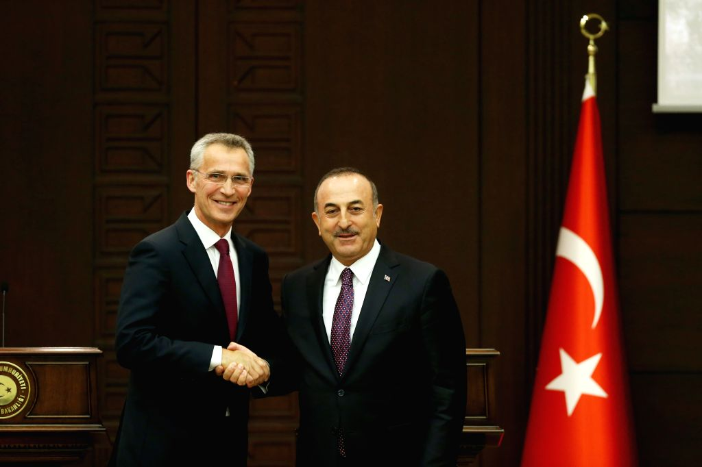 ANKARA, May 7, 2019 (Xinhua) -- NATO Secretary General Jens Stoltenberg (L) and Turkish Foreign Minister Mevlut Cavusoglu attend a press conference in Ankara, Turkey, on May 6, 2019. NATO Secretary General Jens Stoltenberg said on Monday that he is w - Mevlut Cavusoglu
